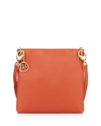 Saffiano Dog-Strap Faux-Leather Crossbody, Orange