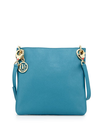 Saffiano Dog-Strap Faux-Leather Crossbody, Blue