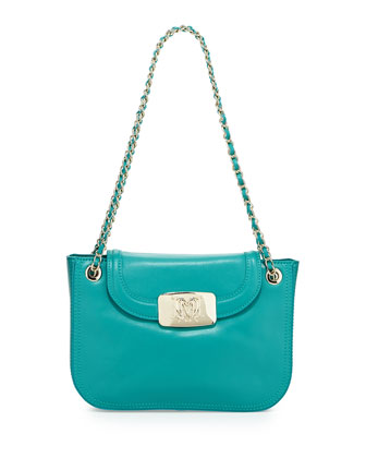 Flap-Top Leather Shoulder Bag, Turquoise