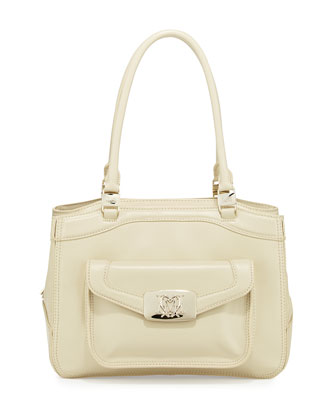 Topstitched Leather Three-Section Tote Bag, Ivory