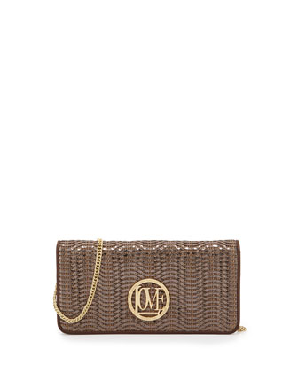 Metallic Woven Faux-Leather Wallet Clutch, Brown/Bronze