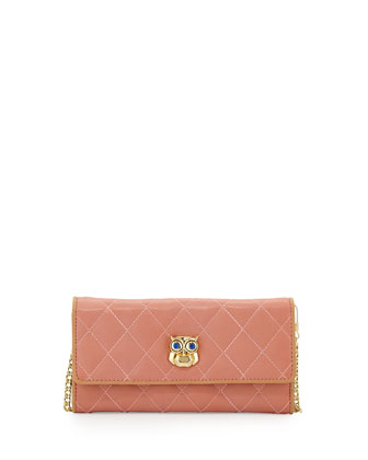 Quilted Faux-Leather Owl Wallet Clutch, Pink/Nude