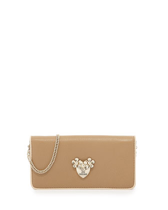 Pebbled Leather Wallet Clutch, Beige/Ivory