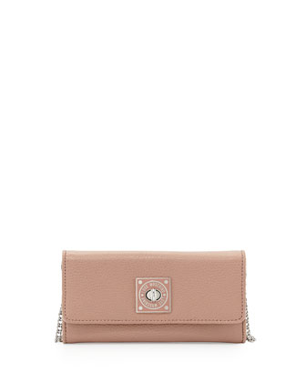 Turn-Lock Wallet Clutch, Rose