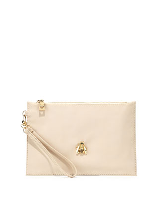 Large Faux-Leather Scarab Wristlet, Ivory