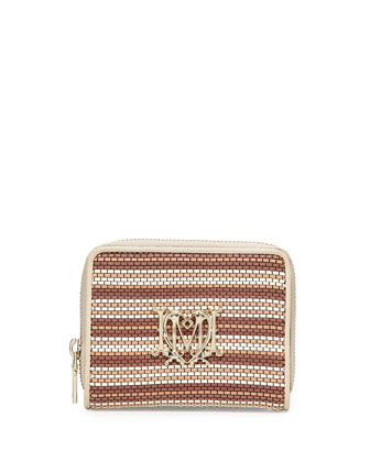 Woven Faux-Leather Stripe Wallet, Beige/Ivory