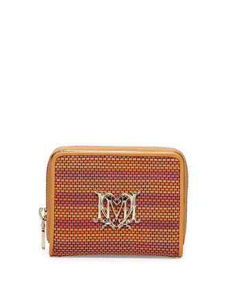 Woven Faux-Leather Stripe Wallet, Orange/Camel