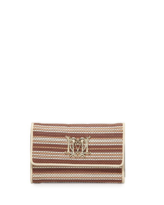 Medium Woven Faux-Leather Stripe Wallet, Beige/Ivory