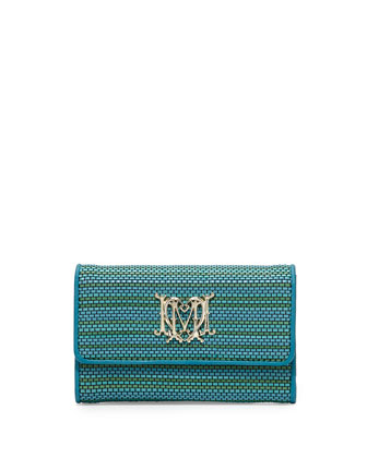 Medium Woven Faux-Leather Stripe Wallet, Turquoise