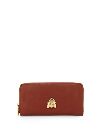 Large Faux-Leather Scarab Wallet, Brown