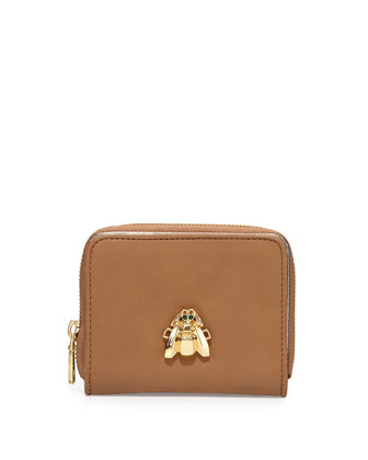 Faux-Leather Scarab Wallet, Natural