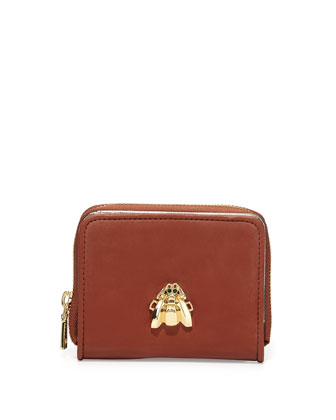 Faux-Leather Scarab Wallet, Brown