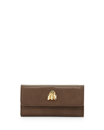 Flap-Top Faux-Leather Scarab Wallet, Taupe