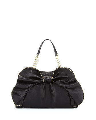 Bow-Dacious Bead Trimmed Satchel Bag, Black
