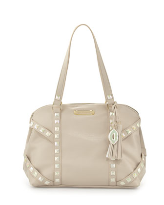 Iridescent Studded Dome Satchel Bag, Cream