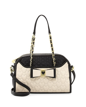Colorblocked Quilted Heart Dome Satchel Bag, Black