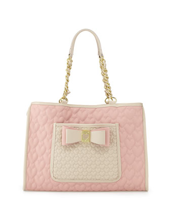 Two-Tone Quilted Heart Tote Bag, Blush
