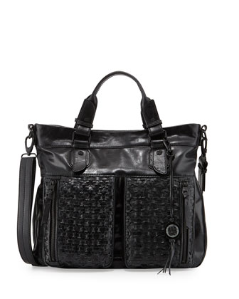 Messina Woven Leather Medium Tote, Black