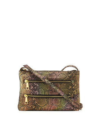 Mara Iridescent Snake-Embossed Crossbody Bag