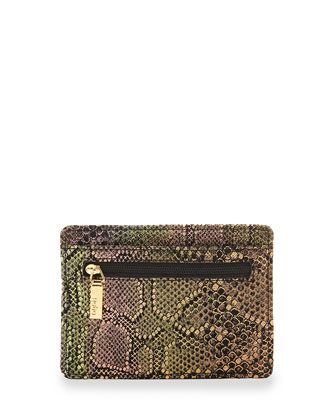 Snake-Print Euro Slide Card Holder, Iridescent Exotic