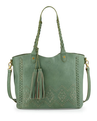 Gisela Diamond Stitched Braided Tote Bag, Sage