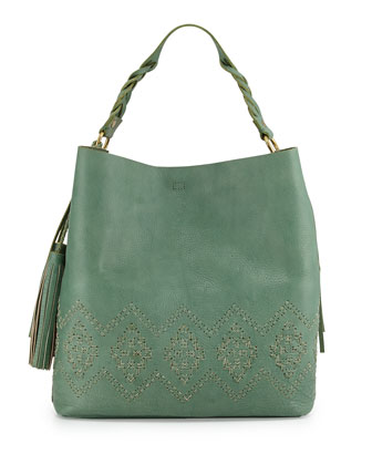 Mary Diamond Stitched Leather Hobo Bag, Sage