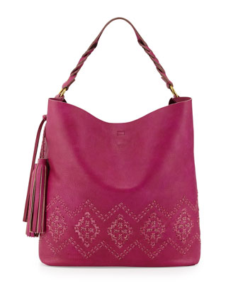 Mary Diamond Stitched Leather Hobo Bag, Magenta