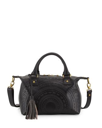 Sadie Embossed Leather Satchel Bag, Black
