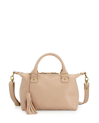 Sadie Embossed Leather Satchel Bag, Nude