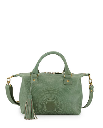 Sadie Embossed Leather Satchel Bag, Sage