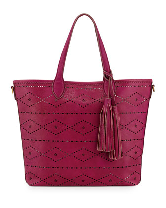 Aurora Floral & Diamond Perforated Tote Bag, Magenta