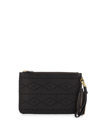 Emma Flower & Diamond Perforated Clutch, Black