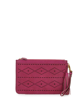 Emma Flower & Diamond Perforated Clutch, Magenta