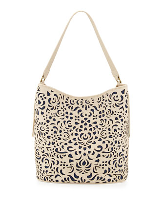 Alexandra Floral Laser-Cut Tote Bag, Alabaster