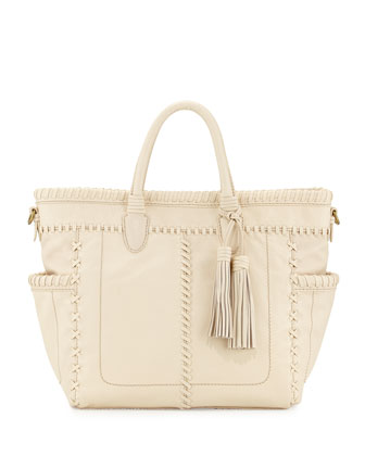 Odette Topstitched Leather Tote Bag, Alabaster