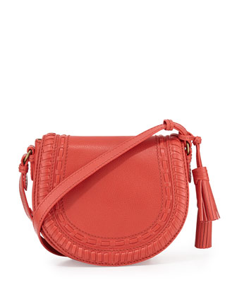 Eloise Topstiched Crossbody Saddle Bag, Papaya