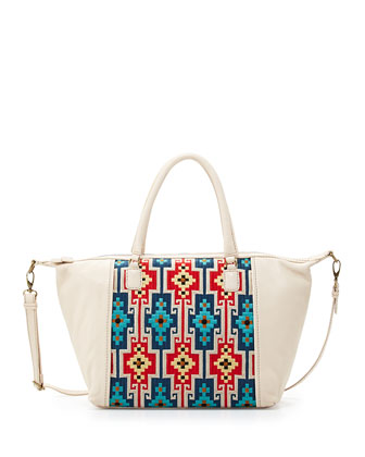Lara Geometric Embroidered Satchel Bag, Alabaster