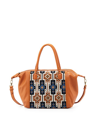 Lara Geometric Embroidered Satchel Bag, Henna