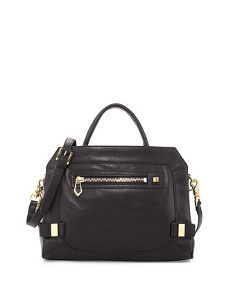 Honore Large Leather Satchel Bag, Black