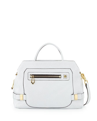 Honore Large Perforated Leather Satchel Bag, White