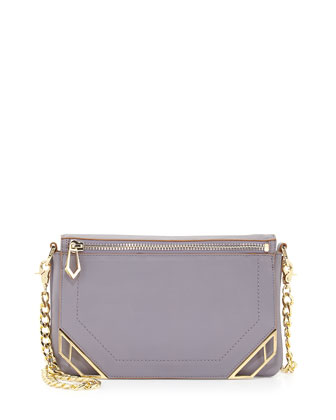 Linea Zip Deco Leather Crossbody Bag, Lavender