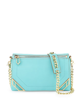 Linea Leather Crossbody Bag, Sky