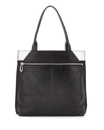 Cruz Colorblock Leather Tote Bag, Black/White