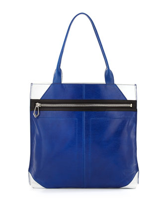 Cruz Colorblock Leather Tote Bag, Ultraviolet/White