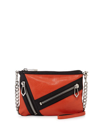 Cruz Zip Colorblock Leather Crossbody Bag, Coral/Black