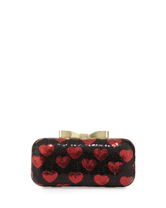 Heart Sequin Chain Clutch, Red/Black