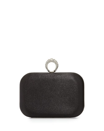 Chain Ring Satin Minaudiere, Black