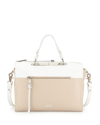 Glenda Colorblock Satchel Bag, Latte/White