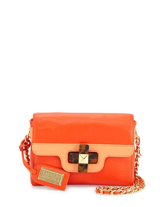 Maya Two-Tone Turn-Lock Shoulder Bag, Clementine