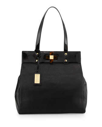Maya Combo Leather Turn-Lock Tote Bag, Black